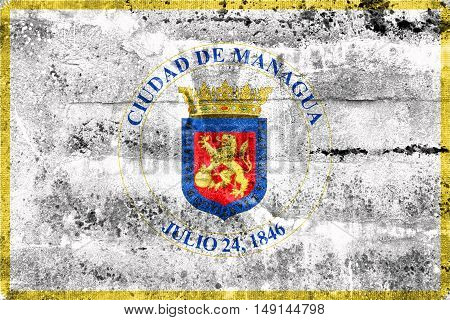 Flag Of Managua, Nicaragua, Painted On Dirty Wall