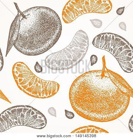Mandarin Hand Draw Sketch Background Pattern. Vector illustration