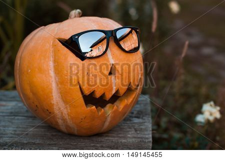 Jack-o ' - lantern with sunglasses outdoors. The Eve Of Halloween. Sunny autumn evening, pumpkin-hipster