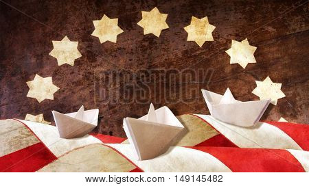 Columbus Day. Three Paper Caravels and Flag Waves.