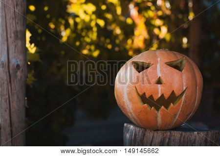 Jack-o ' - lantern outdoors. The Eve Of Halloween. Sunny autumn evening