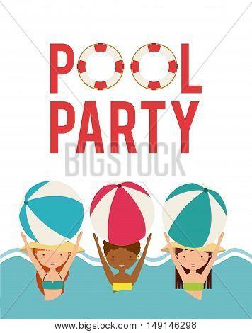 pool party enjoy icon vector illustration design