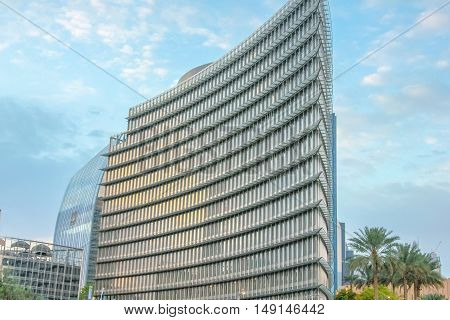 Dubai, United Arab Emirates - May 1, 2013: the Office Annex Building at Burj Khalifa. The Burj Khalifa is a tallest building in the world and is one of the symbols of Dubai.