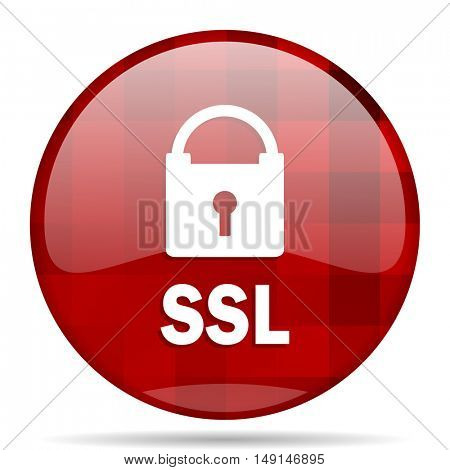 ssl red round glossy modern design web icon