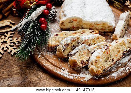 traditional German cake with raisins Dresdner stollen. Christmas treat