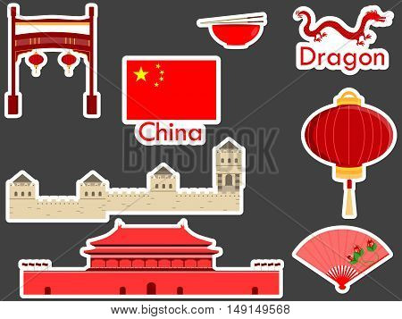 China Stickers, Chinese Landmark. Forbidden City, A Large Chinese Wall, Sticks, Dragon. Patches Elem