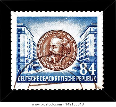 GERMAN DEMOCRATIC REPUBLIC- CIRCA 1953 : Cancelled postage stamp printed by German Democratic Republic, that shows Karl Marx.