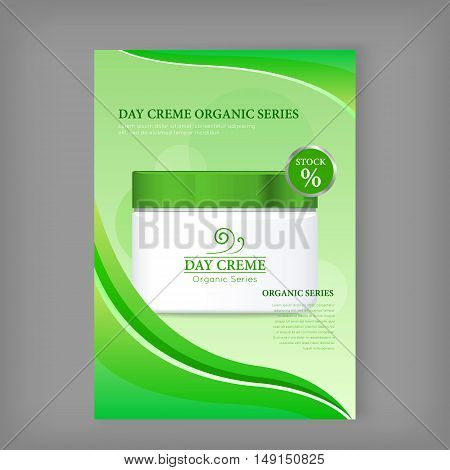 Day cream organic series bottle isolated. Stock. Discount banner. Cosmetic product flasks with logo or symbol on nameplate. Reservoir with label. Part of series of decorative cosmetics items. Vector