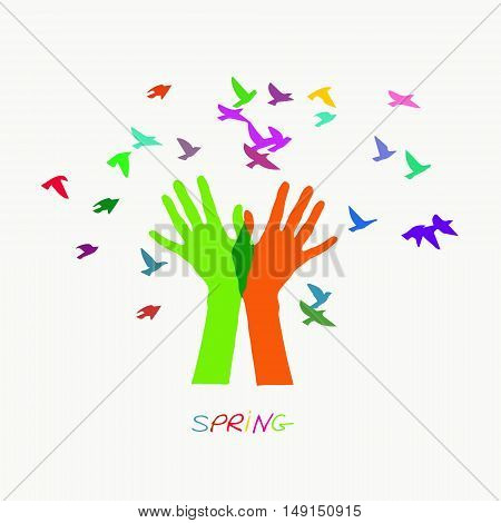 Colored vector illustration depicting hands letting out a flock of birds