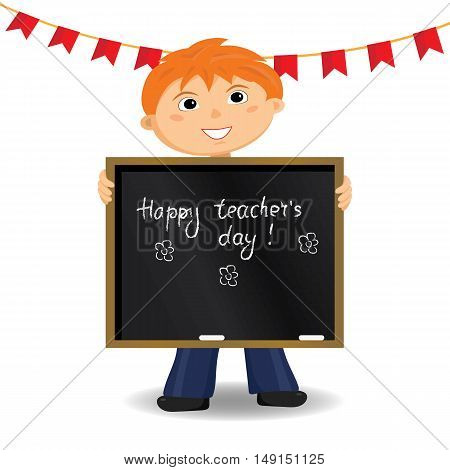 Happy teacher's day card. Vector illustration. Cartoon character.