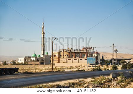 Maalula, Syria - May 09, 2010: Buildings of monastery Takla near Damascus, Syria