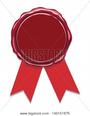 vector wax seal with red ribbons isolated on white