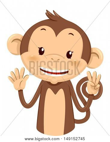 Mascot Illustration of a Cute Monkey Using His Fingers to Gesture the Number Eight