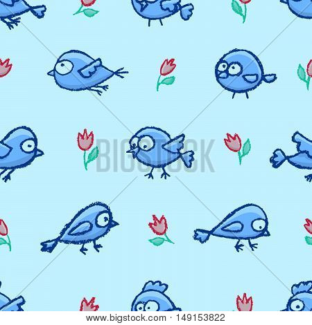 Cute little hand drawn birds blue seamless pattern. Cartoon vector background with funny birds and flowers.
