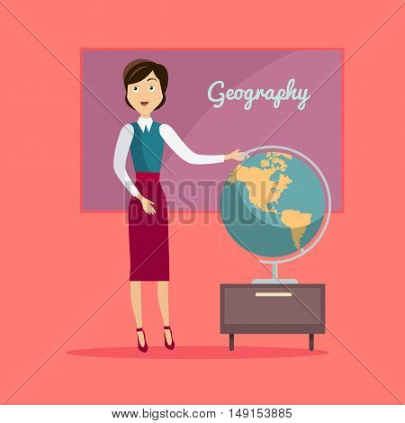Subject of geography education conceptual banner. Geography teacher school standing next to a large globe. World map globe earth and continent, knowledge about global planet, vector illustration