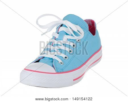 Vintage blue single shoe on white background