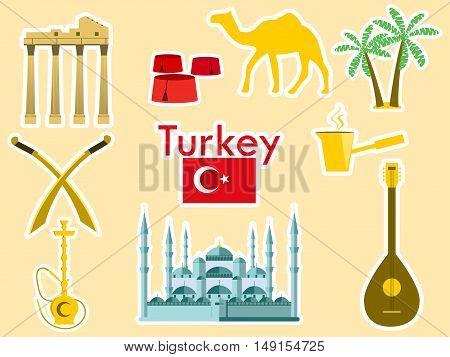 Turkey Stickers. Turkish Symbols: The Blue Mosque, The Agora, The Turkish Hat, Shisha, Camel, Scimit