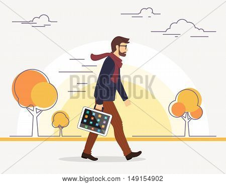 Business man going to his work with tablet pc instead of bag. Autumn season. Flat illustration of social media addiction to gadgets.