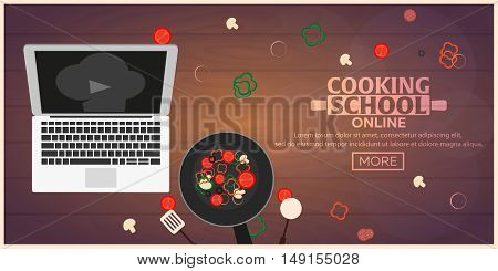 Cooking School, Courses Online. Culinary Class Vector Illustration.