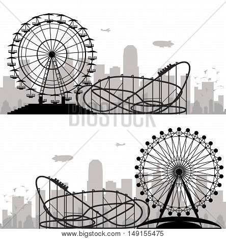 vector background of a city and amusement park with ferris wheel and roller-coaster