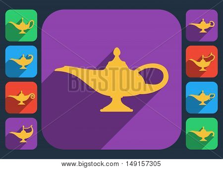 Aladdin lamp flat design icons vector. Set of aladdin lamps with long shadow, illustration color aladdin lamp