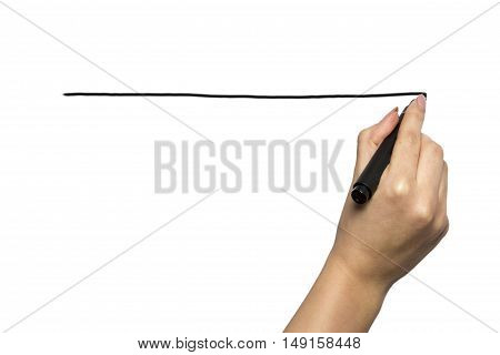 Hand writing on copy space. Beautiful female hand holding black marker pen . Brightly lit with backlight and isolated on white background.