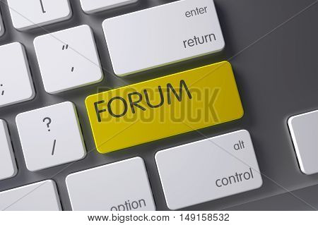 Forum Concept Modern Laptop Keyboard with Forum on Yellow Enter Button Background, Selected Focus. 3D Render.