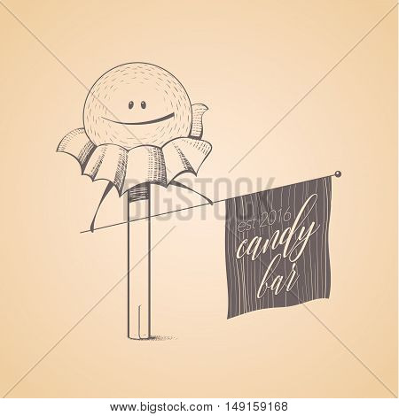 Sweet shop candy store confectionery vector logo icon symbol emblem. Cute funny hand drawn graphic design element with candy stick lollipop bonbon caramel. Sweet food and candy concept