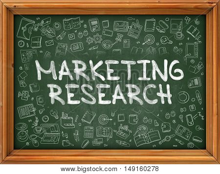 Hand Drawn Marketing Research on Green Chalkboard. Hand Drawn Doodle Icons Around Chalkboard. Modern Illustration with Line Style.