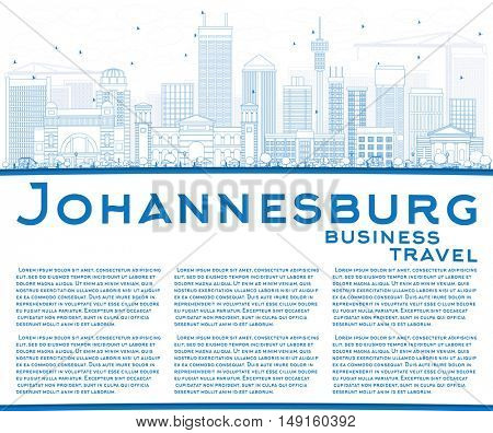 Outline Johannesburg Skyline with Blue Buildings and Copy Space. Vector Illustration. Business Travel and Tourism Concept with Johannesburg Modern Buildings. Image for Presentation and Banner.