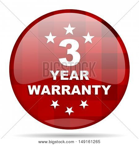 warranty guarantee 3 year red round glossy modern design web icon