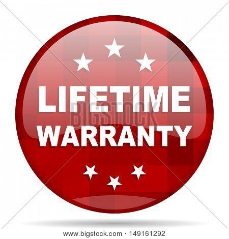 lifetime warranty red round glossy modern design web icon