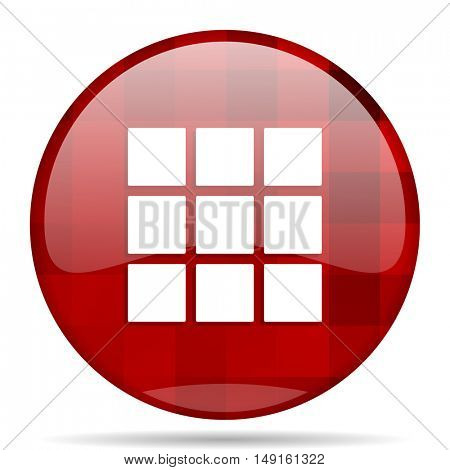 thumbnails grid red round glossy modern design web icon
