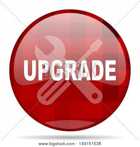 upgrade red round glossy modern design web icon