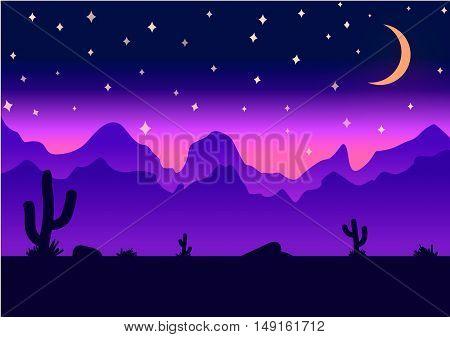 Desert parallax background deep night vector illustration