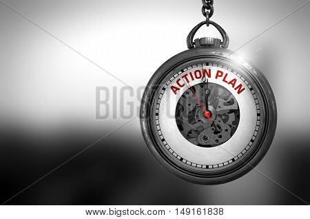 Business Concept: Vintage Pocket Clock with Action Plan - Red Text on it Face. Action Plan on Vintage Pocket Clock Face with Close View of Watch Mechanism. Business Concept. 3D Rendering.