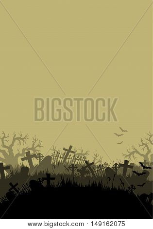 Halloween background with a silhouette of the cemetery crosses