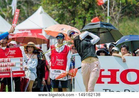 CHONBURI - FEBRUARY 28 : Jenny Shin of USA in Honda LPGA Thailand 2016 at Siam Country Club Pattaya Old Course on February 28 2016 in Chonburi Thailand.