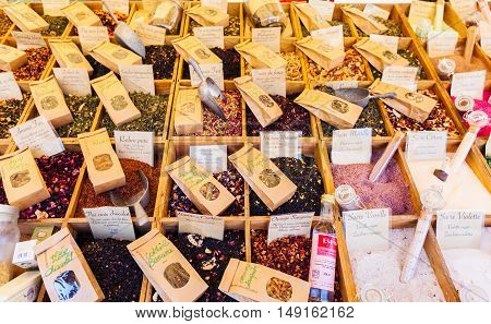 NICE, FRANCE - AUGUST 28, 2016: Bulk fragrant tea on the Market in Nice. Countertop with different varieties and flavors of tea on the market.