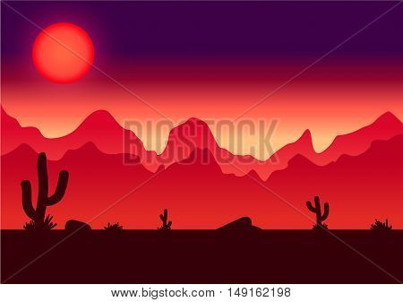 Desert parallax background vector illustration for game