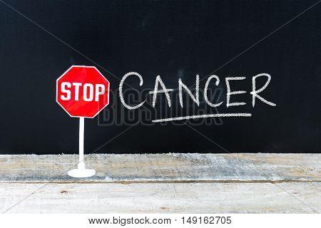Stop Cancer Message Written On Chalkboard
