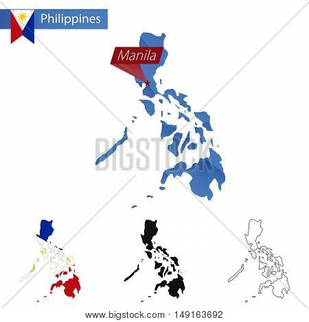 Philippines Blue Low Poly Map With Capital Manila.