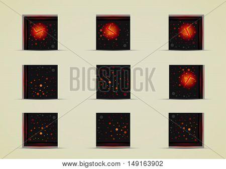 Set of nine black sprites for creating video game