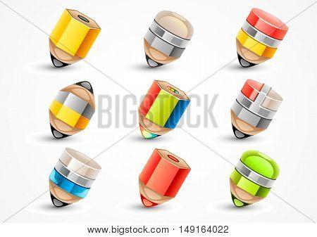 Set of nine stylized pencils on white background