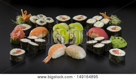 Set of traditional japanese food on a dark background