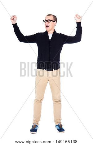 Cheerful Young Man Student Or Office Worker Celebrating Something Isolated On White