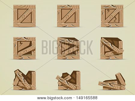 Set of damaged crates for creating video game