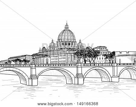 Rome cityscape with St. Peter's Vatican Basilica. Italian city famous landmark skyline. Travel Italy engraving. Rome architectural city background