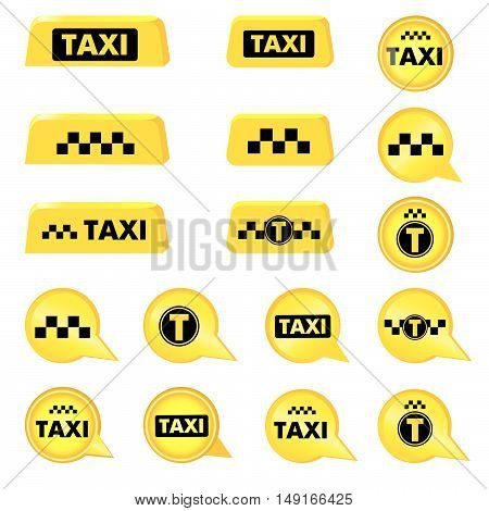 Taxi header icon set. Taxi sign. Call taxi pointer collection. Circle taxi emblems
