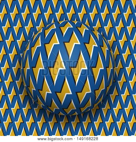 Ball with a golden lightnings blue pattern rolls along golden lightnings blue surface. Abstract vector optical illusion illustration. Motion background and tile of seamless wallpaper.